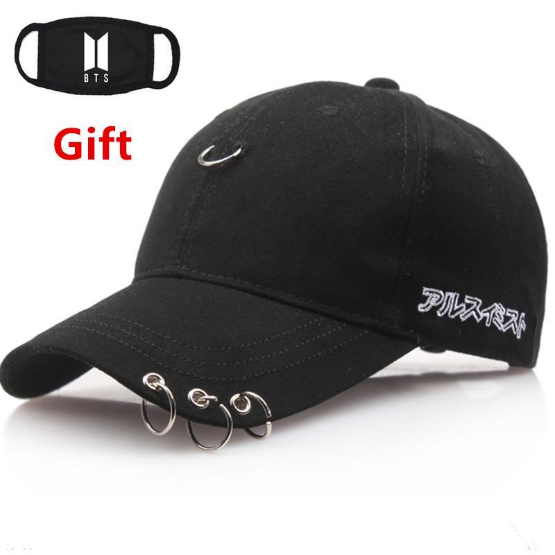 Mask as Gift Hip Hop Rapper Bboy DJ BTS Kpop baseball cap men women Locker  dancer cap sun hat with three rings