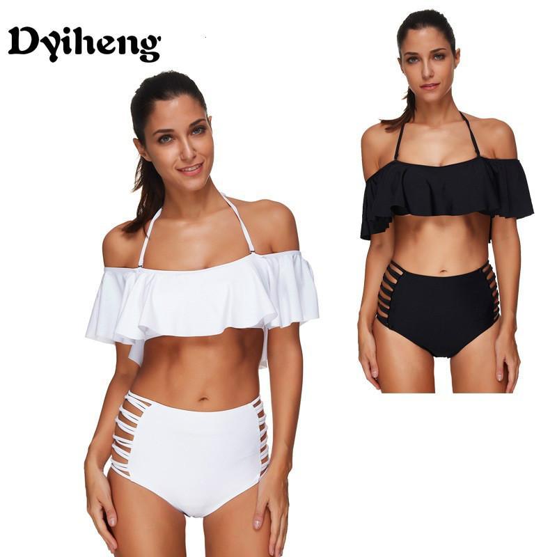 389e0658bbb33 Dyiheng Black And White High Waist Swimsuit Solid Bandeau Bikini 2018 Plus  Size Swimwear Female Ruffle Bikini Set Biquini Bathing Suit UK 2019 From  Dyiheng