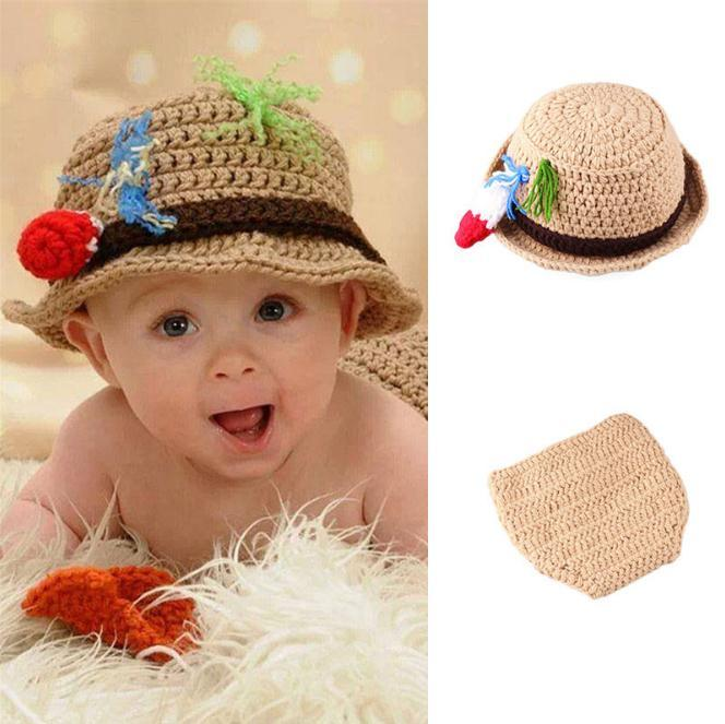 6901d84941d 2019 Newborn Photography Props Baby Hat Costume Set Fisherman Design Knitted  Beanies Infant Photography Accessories From Angel childhood