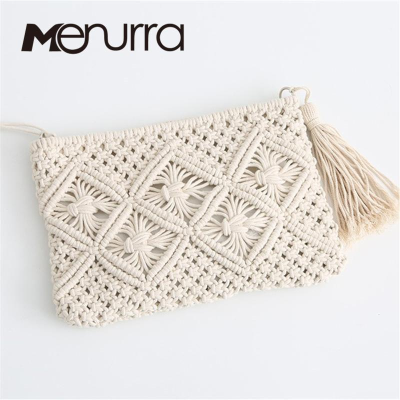 Menurra Fashion Beach Bohemian Tassel Envelope Clutch Shoulder Bag