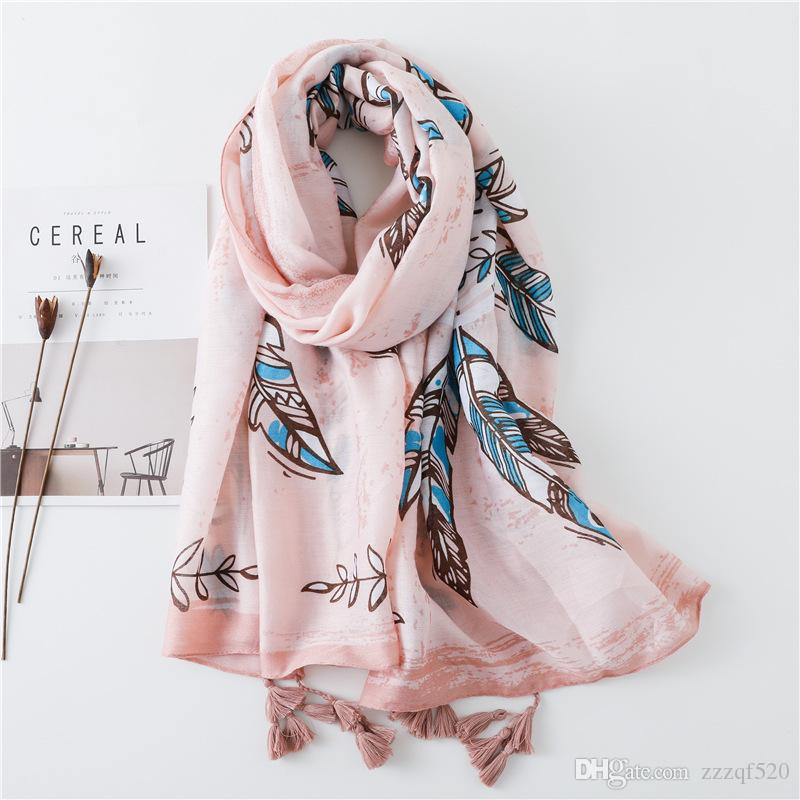 eb483079800 Beautiful Feather Prints With Tassel Fashionable Scarf Shawls For Women Girl  Summer Autumn Wraps Scarves Beach Lady Shawl Silk Scarves Silk Scarf From  ...