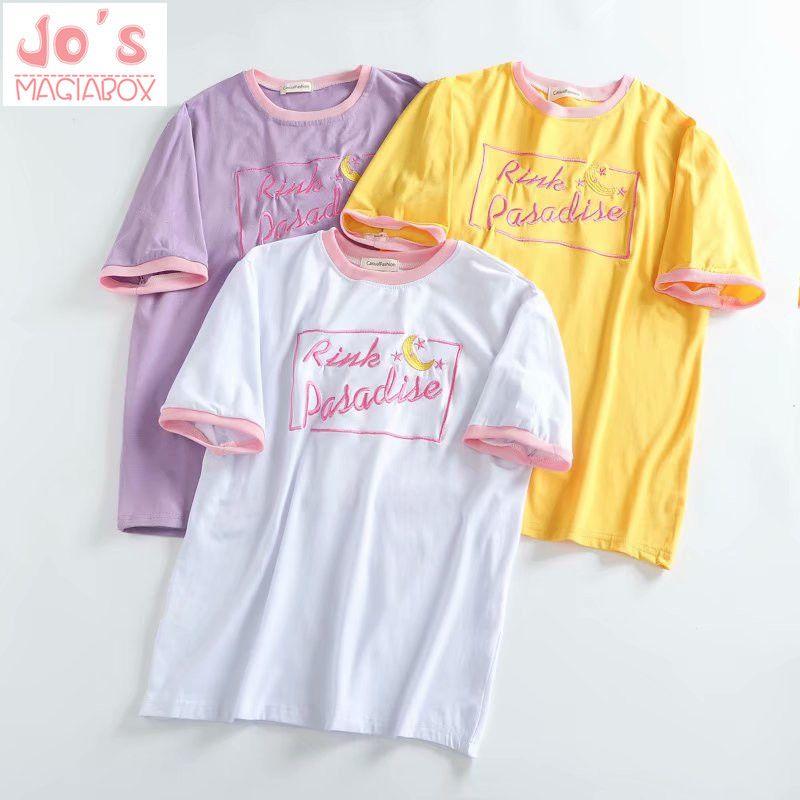 8e1ed0c1ddf7 Kawaii Tee Moon Tshirt South Korea Ulzzang Harajuku Japanese Wild Sweet  Sister Moon Embroidery Fight Students Girls T Shirt Y1891305 Hilarious T  Shirts ...