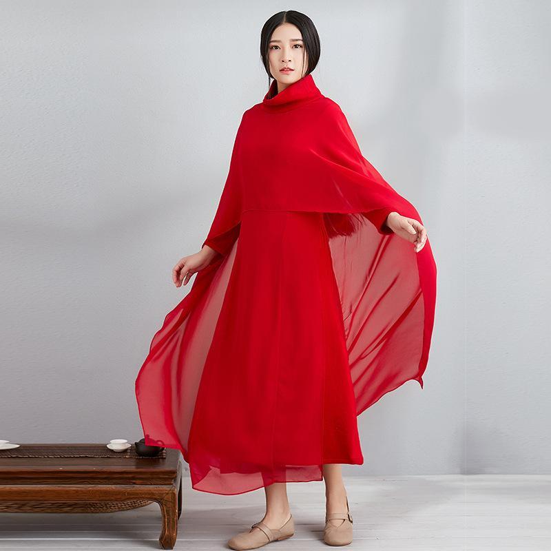 af64b8aea459b Satın Al Yeni Retro Kırmızı Şifon Elbise Ulusal Rüzgar Yüksek Yaka Uzun  Bölümler Zen Dans Elbise Şal Kıyafet Elbiseler Eşleştirme, $102.22 |  DHgate.Com'da