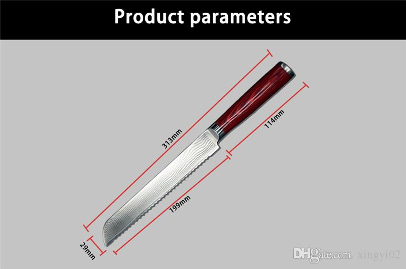 2018 8'' Bread Knife 67 Layers Damascus Steel Faca Navajas Chef Knife For Sharp Blade And Ergonomics Wooden Handle Durable By XINGYI