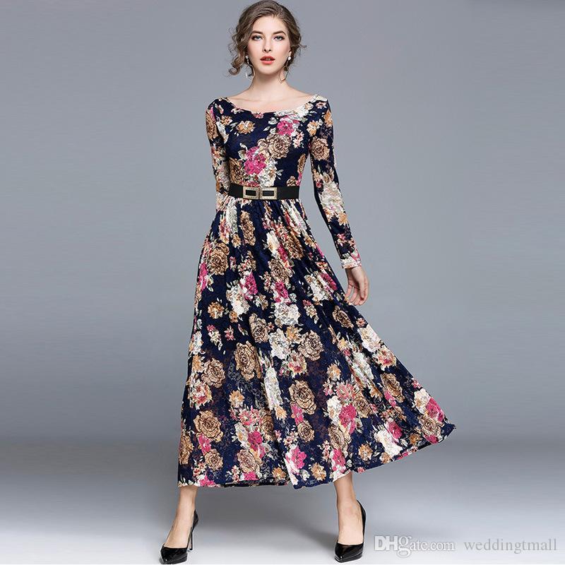 2019 Printed Floral Ankle Length Womens Dresses 2018 Long Spring Dresses  Slash Neck Lace Girls Ladies Dresses From Weddingtmall f42cdb63e