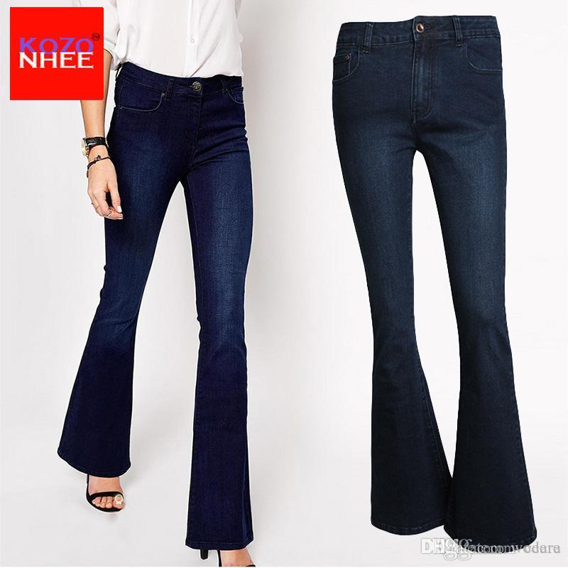 f5e05f16b7e7c 2019 Wholesale Stretching Deep Blue Flare Jeans For Women With High Waist  Elasticity Woman Flared Jeans Pants Large Size From Wodera