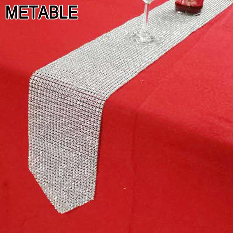 Gentil Metable Bling Table Runner 275cm Long Crystal Mesh Sparkling Christmas  Party Wedding Banquet Baby Showers Decoration Embroidered Table Runner  Extra Long ...