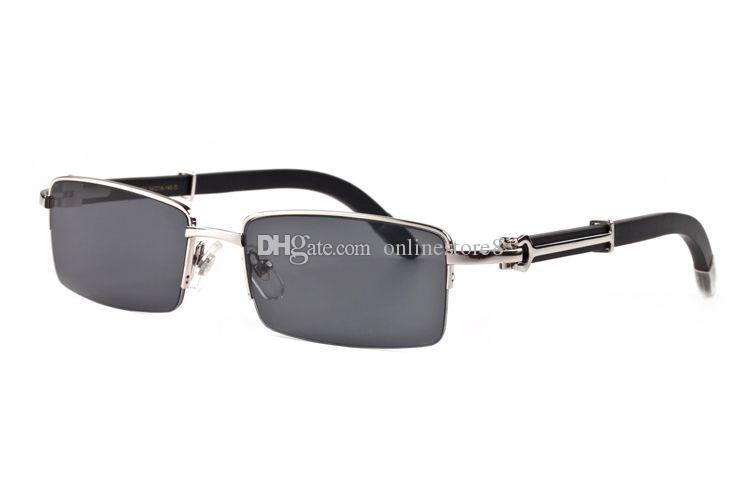 جديد وصول ماركة نظارات شمسية للرجال الجاموس القرن شبه بدون شفة الذهب والفضة الإطار الخشب الخيزران النظارات مع مربع أحمر حالة هلالية