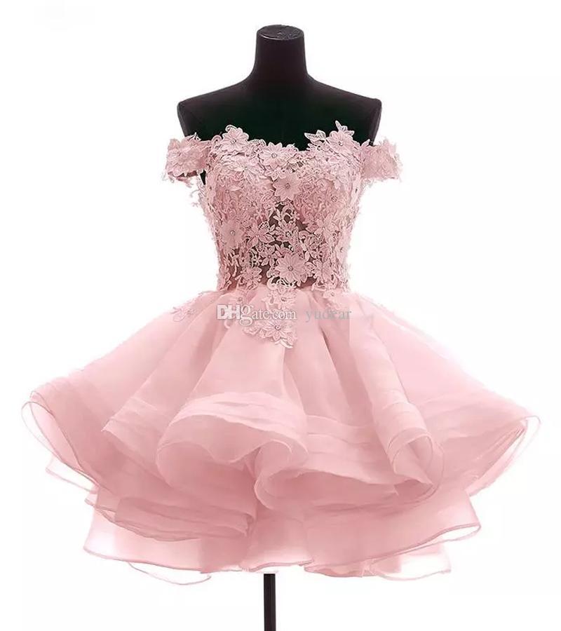 2019 New Deisgn Women Off Shoulder Homecoming Dresses Mini Ball Gown Prom Dresses with Lace Applique Back Buttons Illusion Vestido de Fiesta