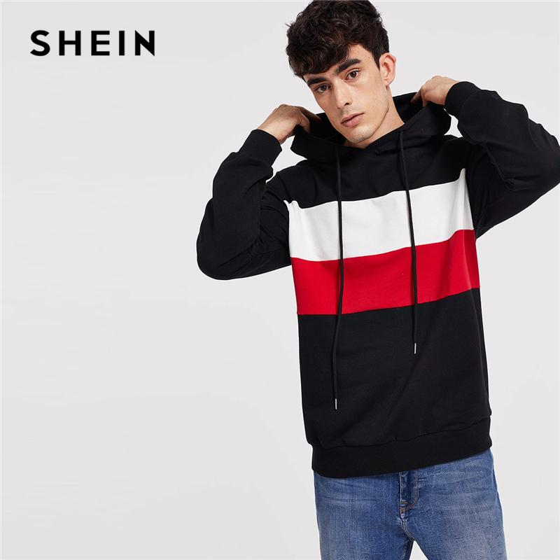 5ef640a870 SHEIN Men Multicolor Color Block Drawstring Hoodie Casual Long ...