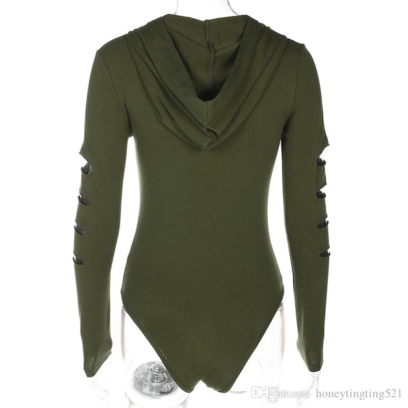 New design sexy women's long sleeve ripped cutout holes hooded zipper front fly bodycon shorts jumpsuit rompers army green white