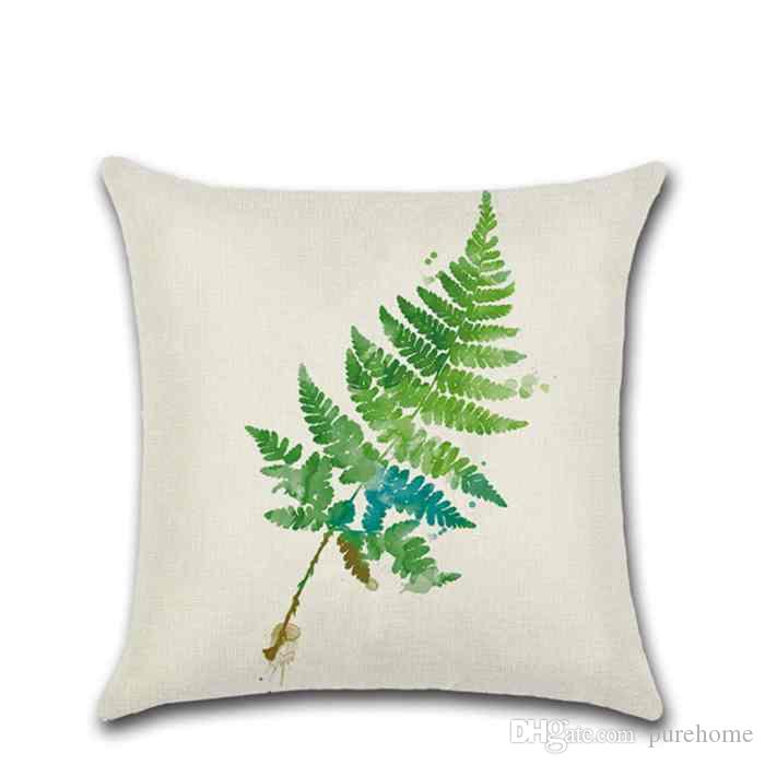 2018 Summer Green Leaves Printed Linen Pillow Covers Sofa Car Pillowcases Decorative Pillow Case Home Decor Gift for Housewarming Party