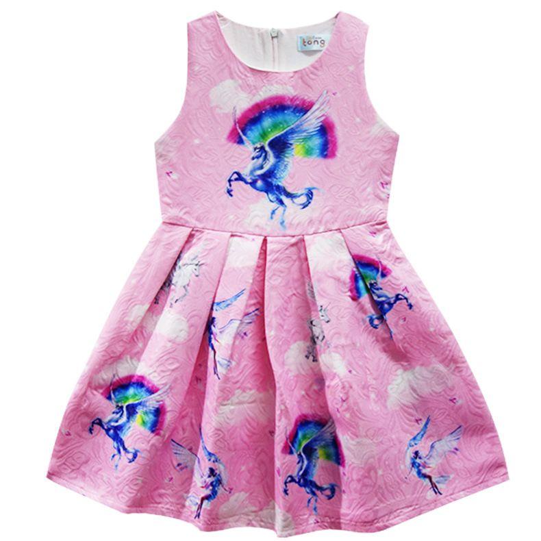 Girls Unicorn Skirt Cartoon Dresses 2018 Summer Girls Skirt Kids 100~140 cm Made in China
