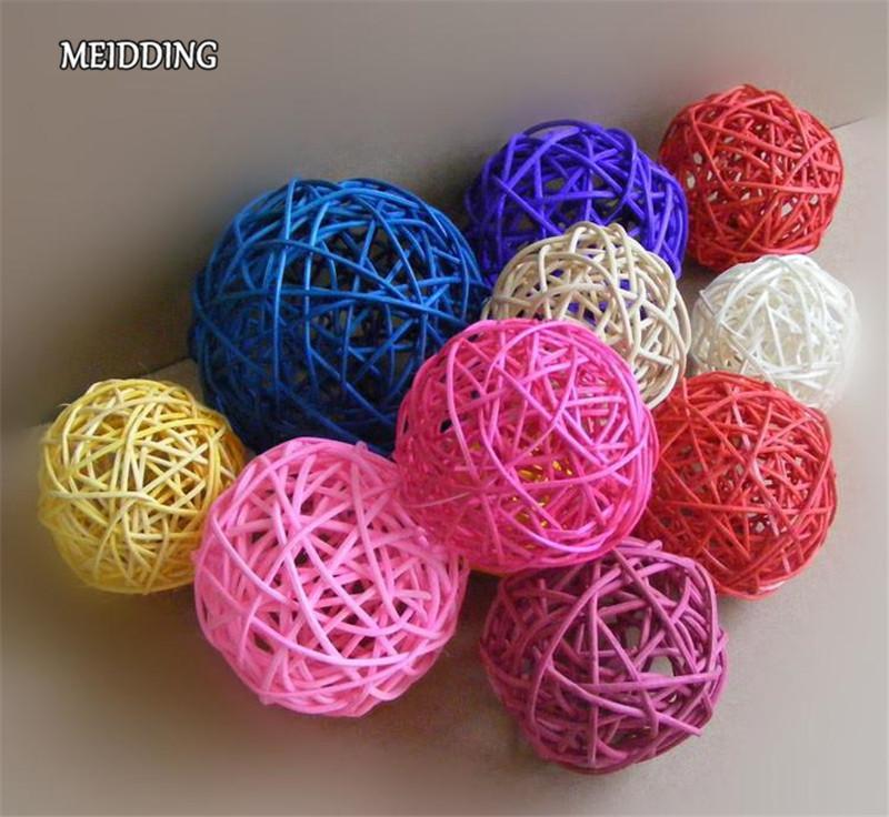 MEIDDING-5 CM Rattan palla di vimini rattan palla ramoscello autunno legno natale festa di compleanno casa decorazione della festa nuziale