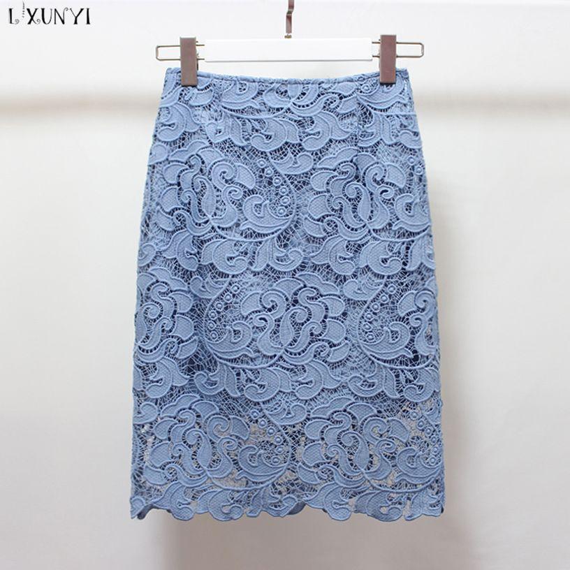 f0d219ab62e97 2019 LXUNYI Sexy Lace Skirts Women High Waist Pencil Skirts Womens 2018  Spring Summer Crochet Hollow Lace EleSkirt Midi Big Size From Vanilla10