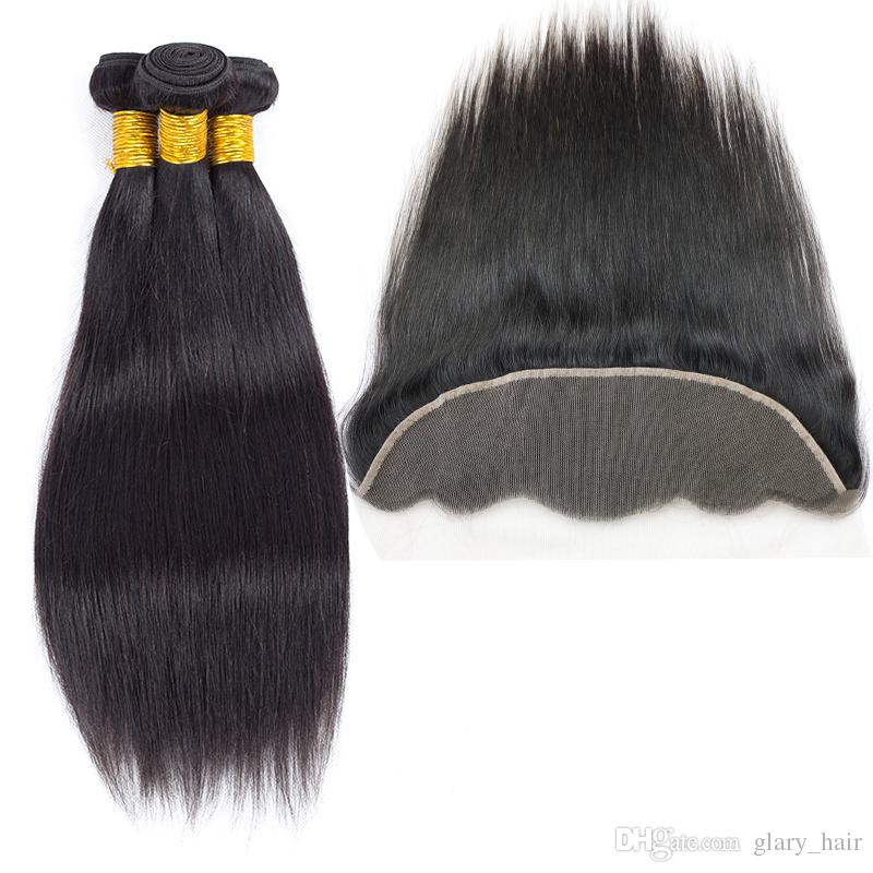 Hot Brazilian Virgin Human Hair Body Wave Straight 3 Bundles With 13x4 Lace Frontal Ear to Ear Hair Weave Closure