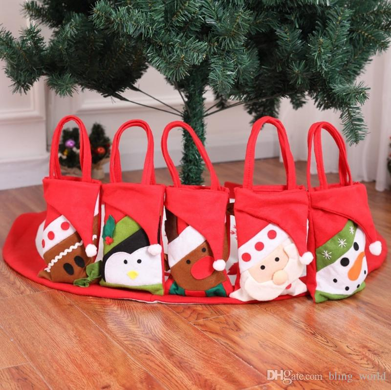 christmas gift bags xmas candy gift bag candy handbag christmas decorations santa snowman elk penguin bear optional yw992 christmas decorations to buy