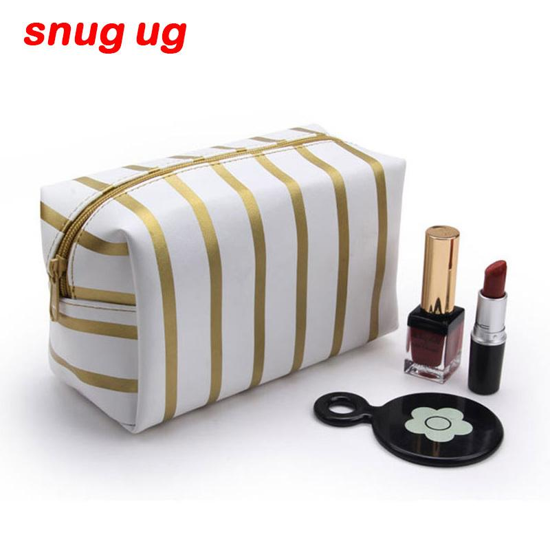 7474b3381e6b 2019 SNUGUG 2018 PU Leather Cosmetic Bag Small Stripe Makeup Bag Black Gold  Toiletry Women Travel Organizer Make Up Vanity Case From Caspink