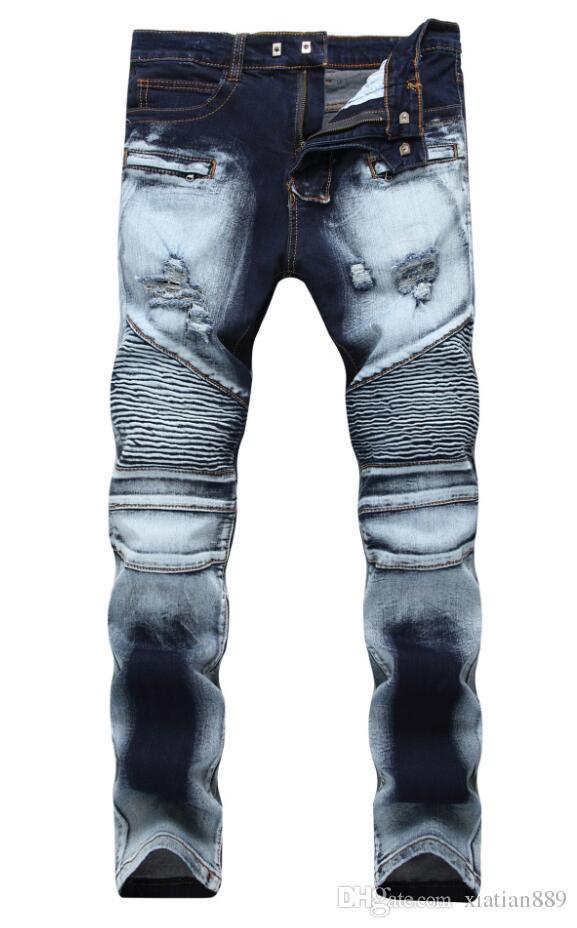 Moda hombre comercio exterior azul claro pantalones vaqueros negros pantalones motociclista hombres motoristas lavar para hacer el viejo pliegue hombres Pantalones Casual Runway Denim