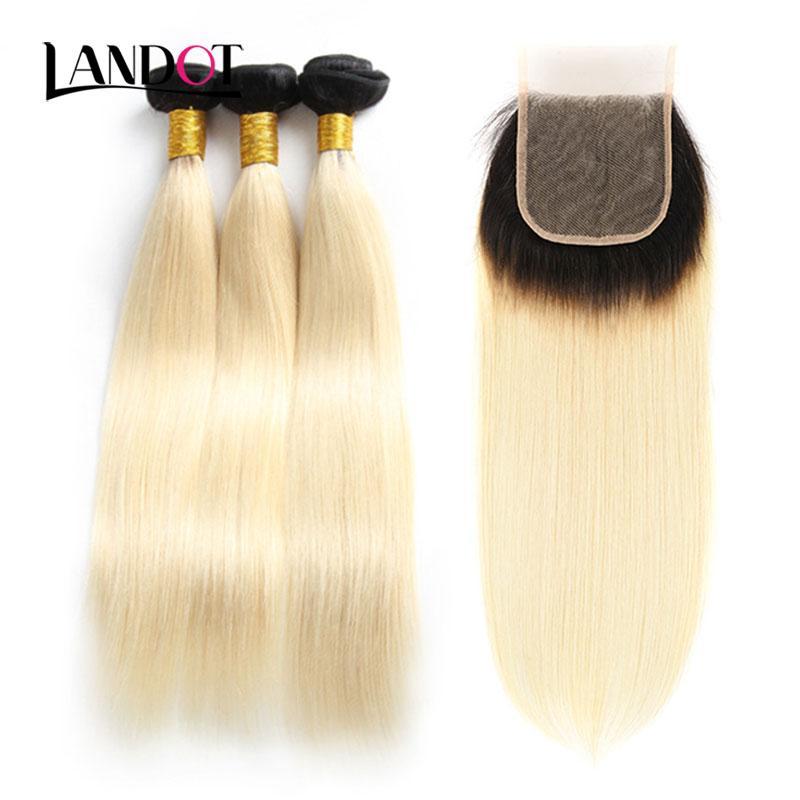 9A Ombre 1B / 613 # Bleich Blonde Brasilianische Peruanische Malaysische Indische Reine Menschenhaar-webart Gerade 4 Bundles Mit Spitze Verschlüsse Kann gefärbt werden