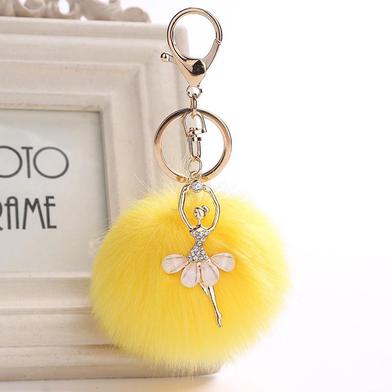 Cute Women Angel Key Ring Fur Pom Pom Key Chain Faux Rabbit Hair Bulb Bag  Car Ornaments Fox Fur Ball Pendant Chaveiro Keychain Custom Keychains  Personalized ... bff45cfdd1
