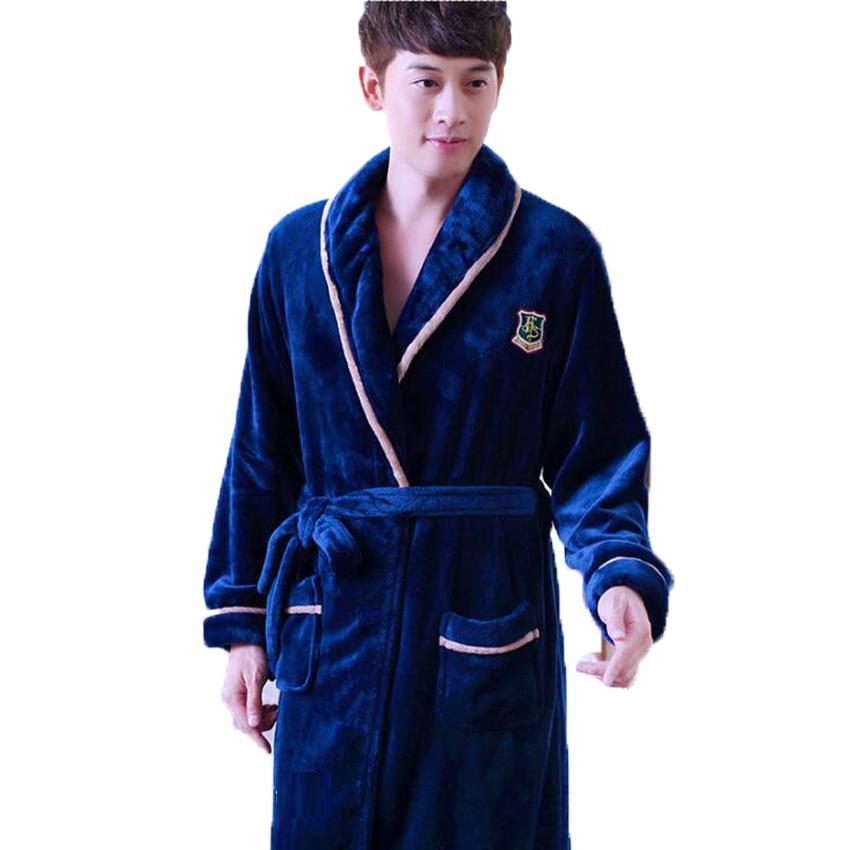 25f8394a4b 2019 Thick Coral Fleece Bathrobe For Men Women Long Kimono Homme Winter  Warm Bath Robe Male Nightgown Nighties Casual Home Clothing From Bunnier