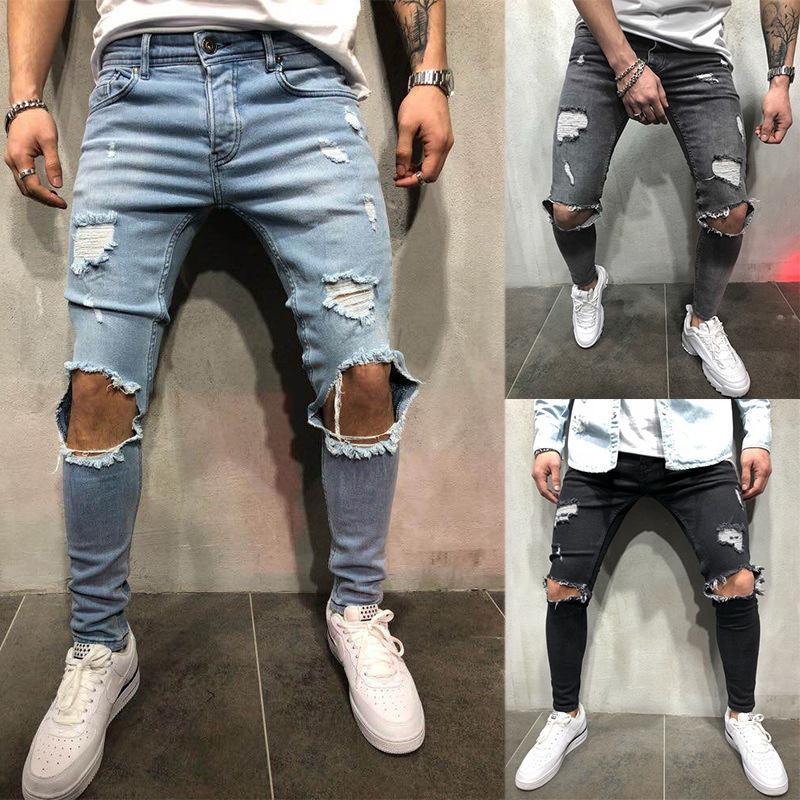7c7d035c0d Compre Moda Streetwear Jeans Para Hombre Vintage Azul Gris Color Skinny  Destroyed Ripped Jeans Pantalones Punk Rotos Homme Hip Hop Jeans Hombres  S1012 A ...