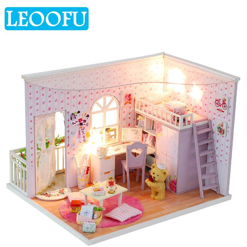 LEOOFU diy mini doll house music dust cover 3D wooden miniaturas dollhouse  toys for children toy baby gift beautiful lifelike
