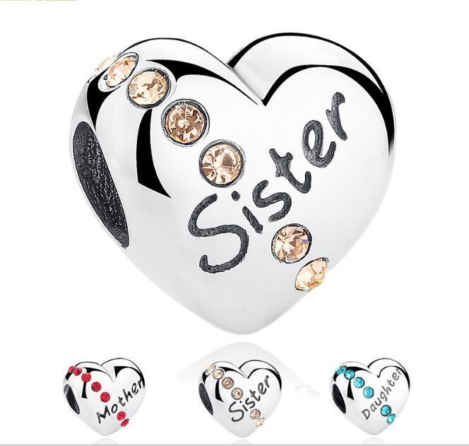 925 Ayar Gümüş Kalp Elmas Anne / Kızı / Kardeş Baskılı Gevşek Boncuklu Charms DIY Bilezikler Kolye Takı Aksesuar Için hediyeler Olarak