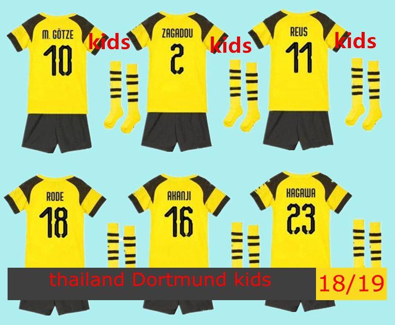 f82cefa76 201819 Borussia Dortmund Away Black KidsYouth Soccer Uniform