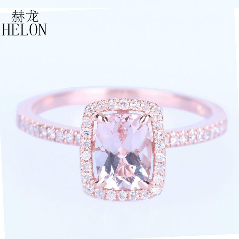 Helon Unbelievable 1 37ct Cushion Cut Morganite Solid 10k Rose Gold Engagement Wedding Diamonds Ring For Women S Jewelry Ring S923