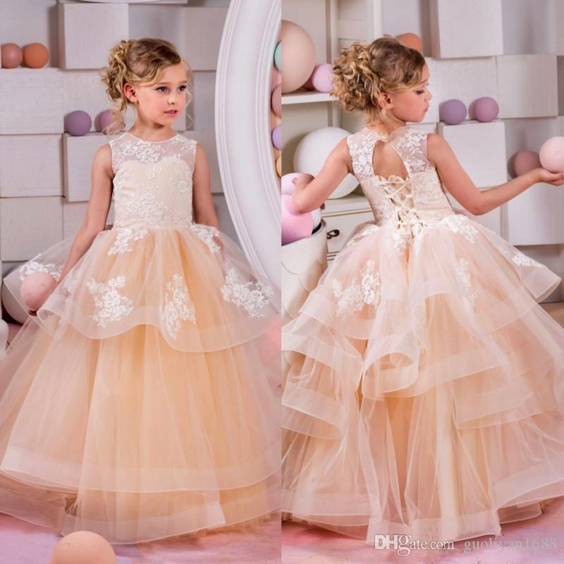 2019 Free Shipping Top Sale Lace Appliques and Champagne Tiered Tulle Skirt Flower Girl Dresses Sleveless Long Pretty Kids Pageant Gowns