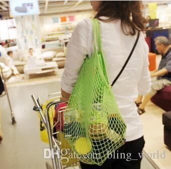 aea1b088c483 Shopping Bag String Grocery Storage Bags Cotton Mesh Woven Fruit Storage  Handbag Reusable Turtle Bags Sundries Organizer 13 Colors YW917