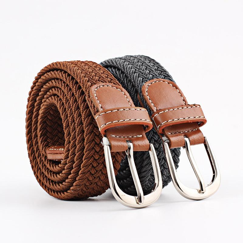 Compre Cinturones Macho Hebilla Elástica Elástica Cinturón Trenzado Hombres  Jóvenes Mujeres Pantalones Hombres Ocio Lienzo Cinturón Banda Elástica  Materia ... 1e316767ecd3