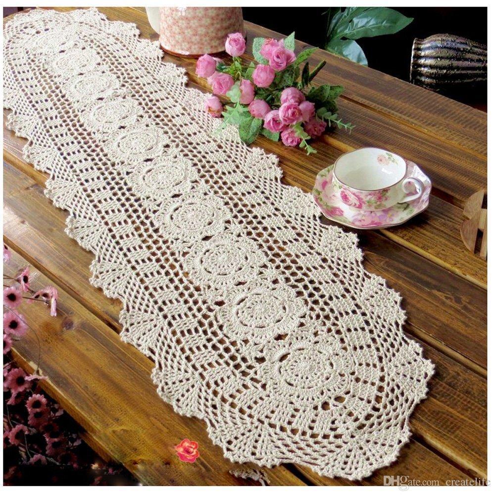 Häkeln Sie Baumwolle Sofa Tischdecke Spitze Deckchen handgemachte Tischläufer für Home Party Dekoration, Hochzeit Dekor Tischset