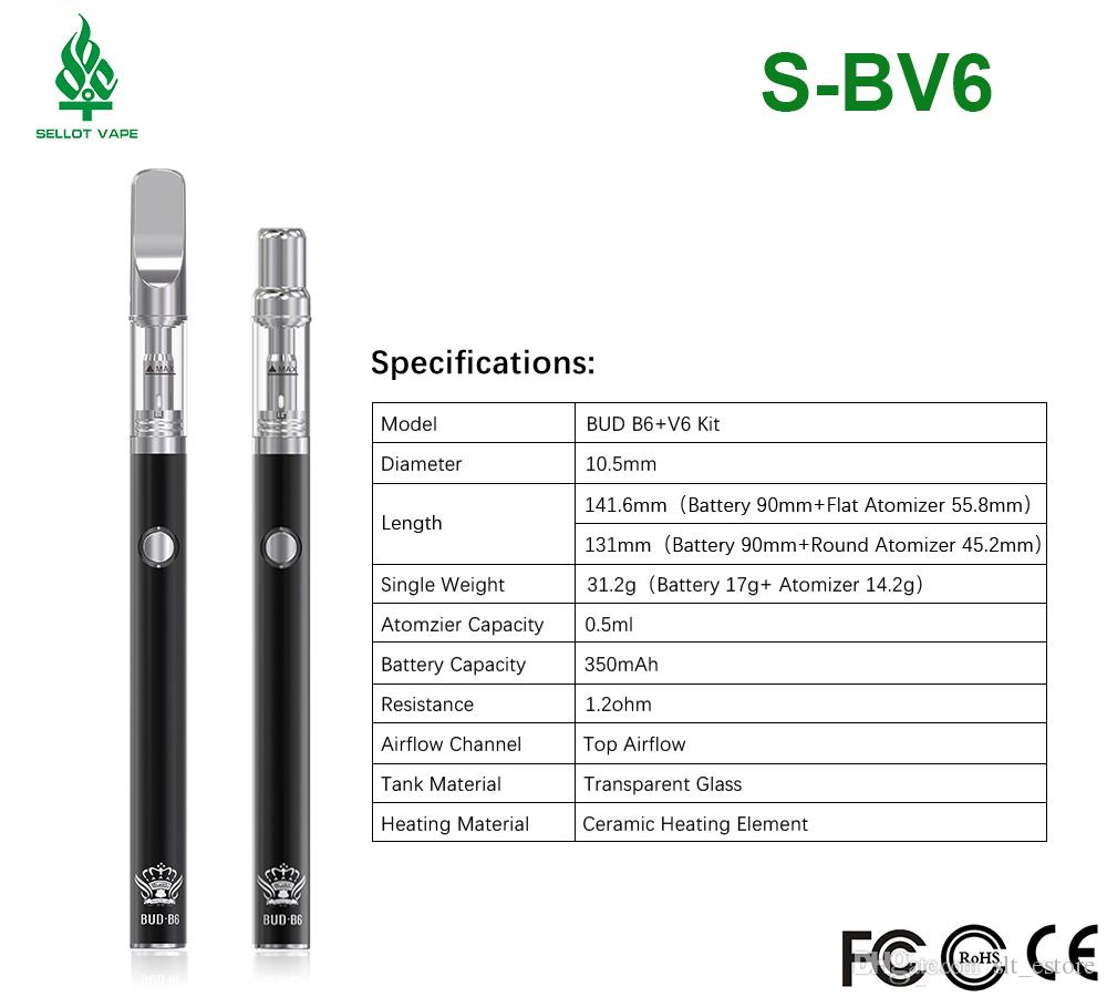 2018 disposable vaporizer pen bud b6+v6 single vape pen packing ceramic wax cartridges with 510 thread battery
