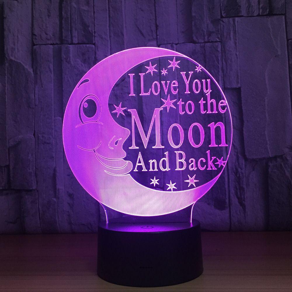 2018 Moon 3D Optical Illusion Lamp Night Light DC 5V USB Charging Battery Wholesale Dropshipping