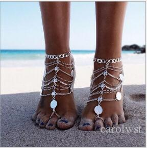 Silver Color Multi Layer Chain Coin Decoration Anklets Boho Chic Slave Anklets for Women Famous Brand Jewelry Bijoux
