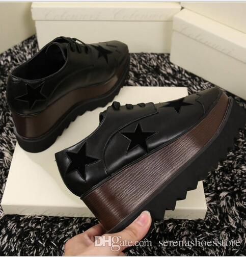 Hot Sale Women Platforms Heels Elyse embroidered platform brogues wooden wedge platforms Lace-up front Shoes Women