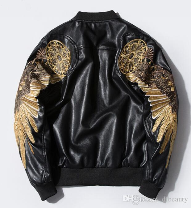 575e7f7fa High Quality Autumn and winter personality gold feather embroidery big  wings black red Men s Jacket loose men s motorcycle PU leather coat