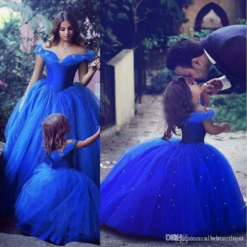 Cute Royal Blue Ball Gown Girls Pageant Dresses Off Shoulder Tulle Floor Length Toddler Birthday Dresses 2018 New Cupcake Dress