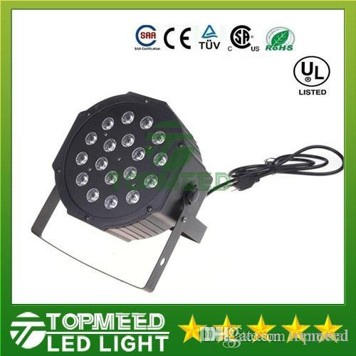 DHL Big Led stage light 18x3W 54W 85-265V High Power RGB Par Lighting With DMX 512 Master Slave Flat DJ Auto-Controller 44led