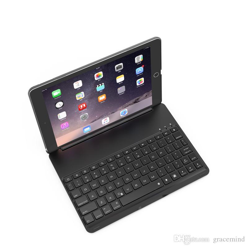 Clavier sans fil Bluetooth ultra-mince en aluminium Clavier sans fil Bluetooth avec étui de protection pour Apple iPad Air 2