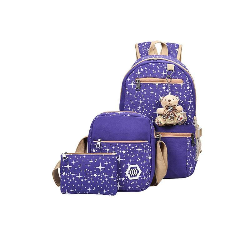 de5d38e0082d 3 Pcs/set Women Girl School Backpack Shoulder Bag 4 Colors Rucksack Canvas  Travel Bags Printed Flower Large Capacity Backpack