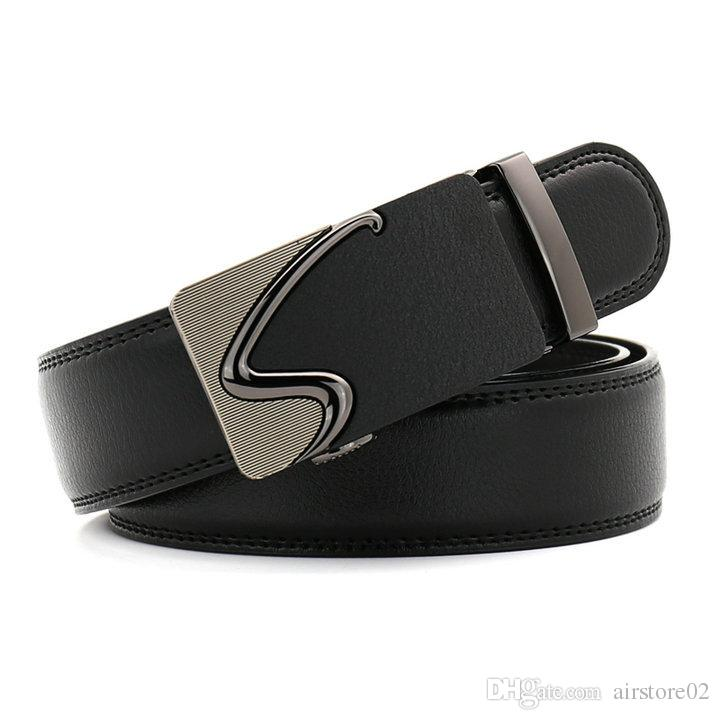 2018 Mens moda 140cm Big Size Automatic Buckle Black Mens Cinture Luxury Genuine Leather Belt Spedizione gratuita 022