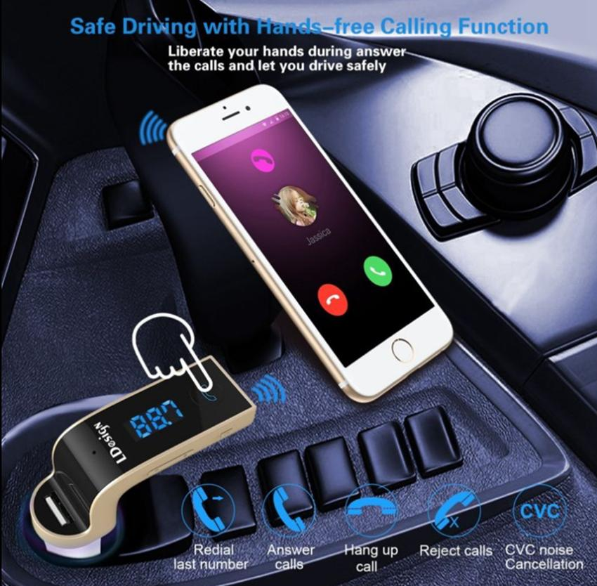 G7 Car Sem Fio Bluetooth MP3 Transmissor FM L Projeto Modulador 2.1A Car Kit Sem Fio de Carregador de Suporte Hands-free Micro GGA68