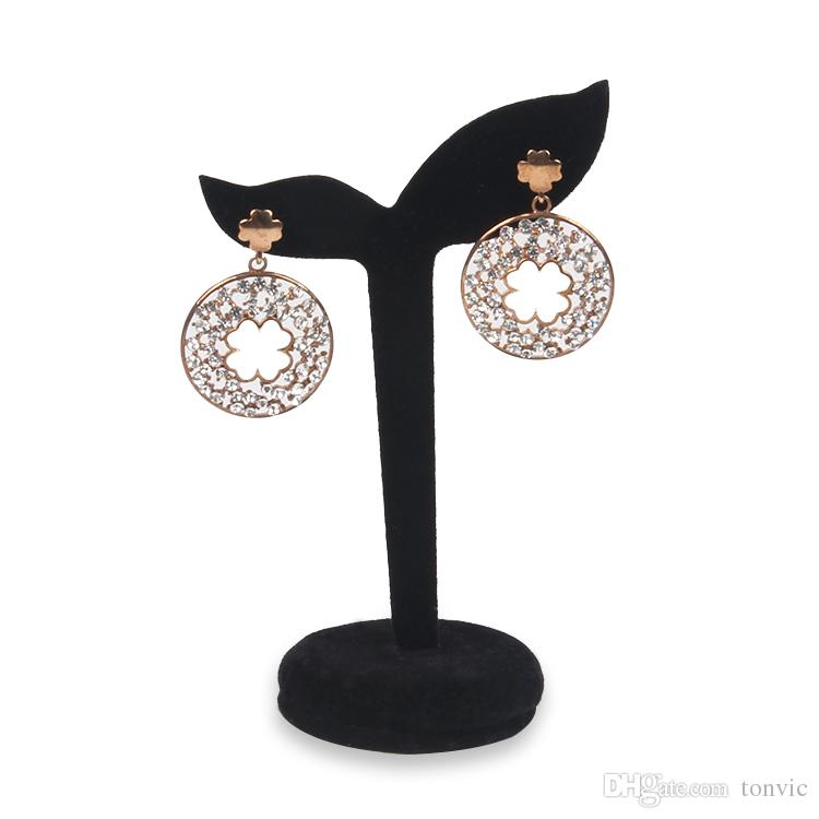 TONVIC TONVIC Wholesale Elegant Black/Gray Velvet Covered Jewelry Display Earring Tree Stand Holder 2 Holes New Arrival