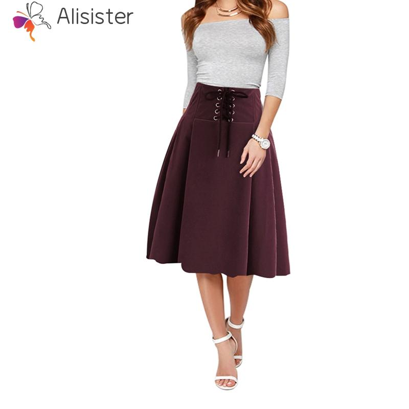 b55c0c16f6261 2019 Vintage Saia 2018 Women High Waist A Line Midi Skirt Lace Up Front  Solid Knee Length Red Black Navy Pleated Skirt Faldas Skater From Harrvey