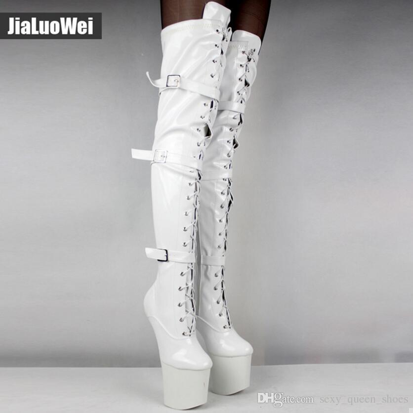 943b0a028263a Acheter Femmes Cuissardes Bottes Haute Lacet Extrême 20cm Talon Fétiche  Heelless Semelle Sabot Homme Blanc Boucles Sexy Chaussures Sur Botte Haute  De  82.42 ...