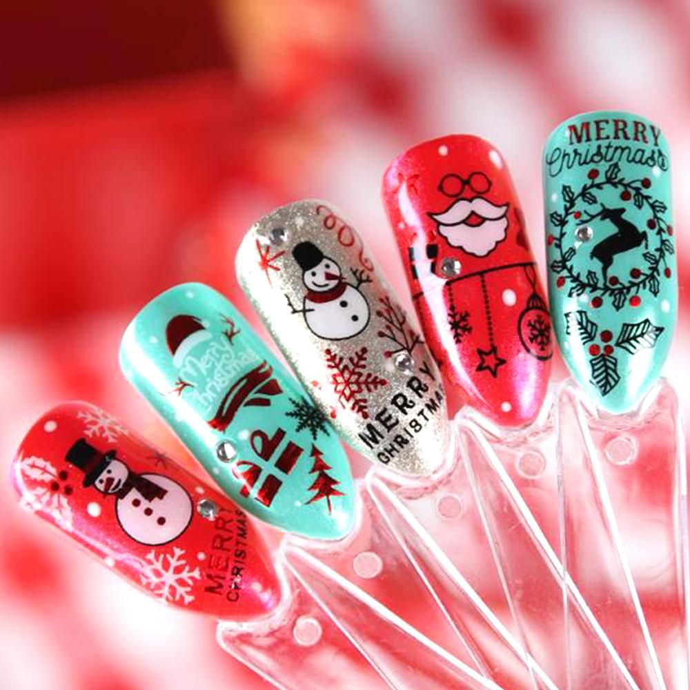 24 Styles 3d Nail Stickers Christmas Nail Art Decoration Bright